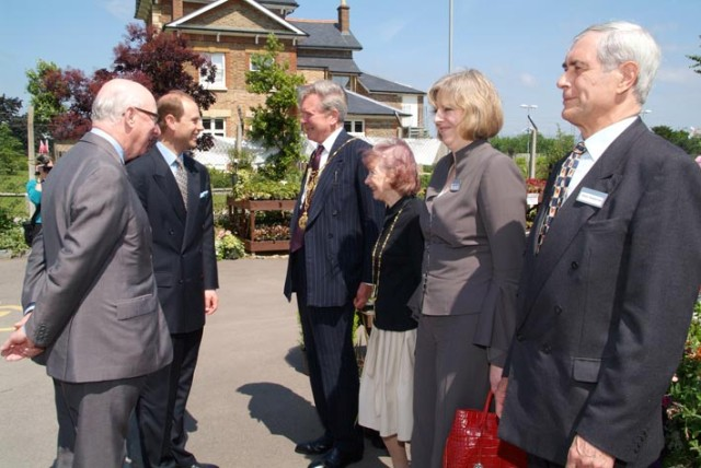 Prince Andrew meeting staff and local dignitaries