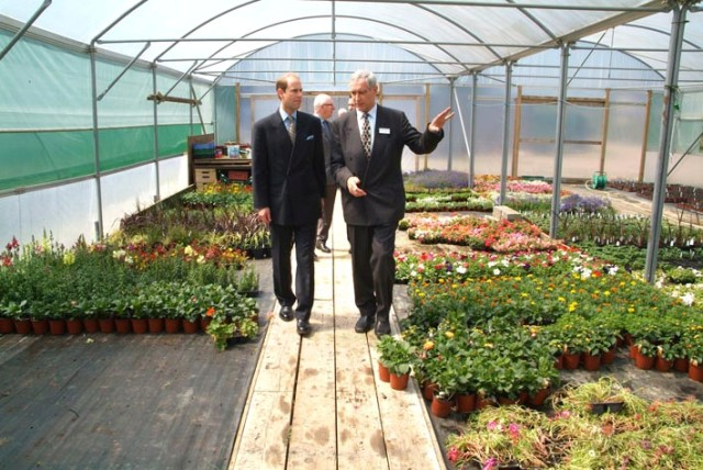 Prince Edward touring the greenhouses